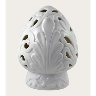 Arca Pumo Con Led Diametro 13.5 cm Illuminare Casa Bianco Decorato con Foglie e Ricamato