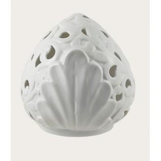 Arca Pumo Con Led Diametro 15 cm Bianco Ricamato e Decorato Con Foglie Casa Illuminare