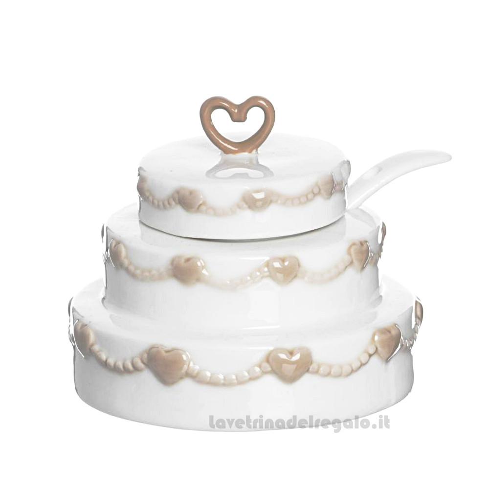 Zuccheriera Torta Nunziale con cucchiaio in ceramica 8 cm - Bomboniere matrimonio