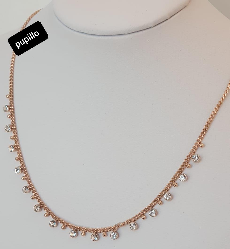 collana acciaio catena rosata con pendentini zirconi