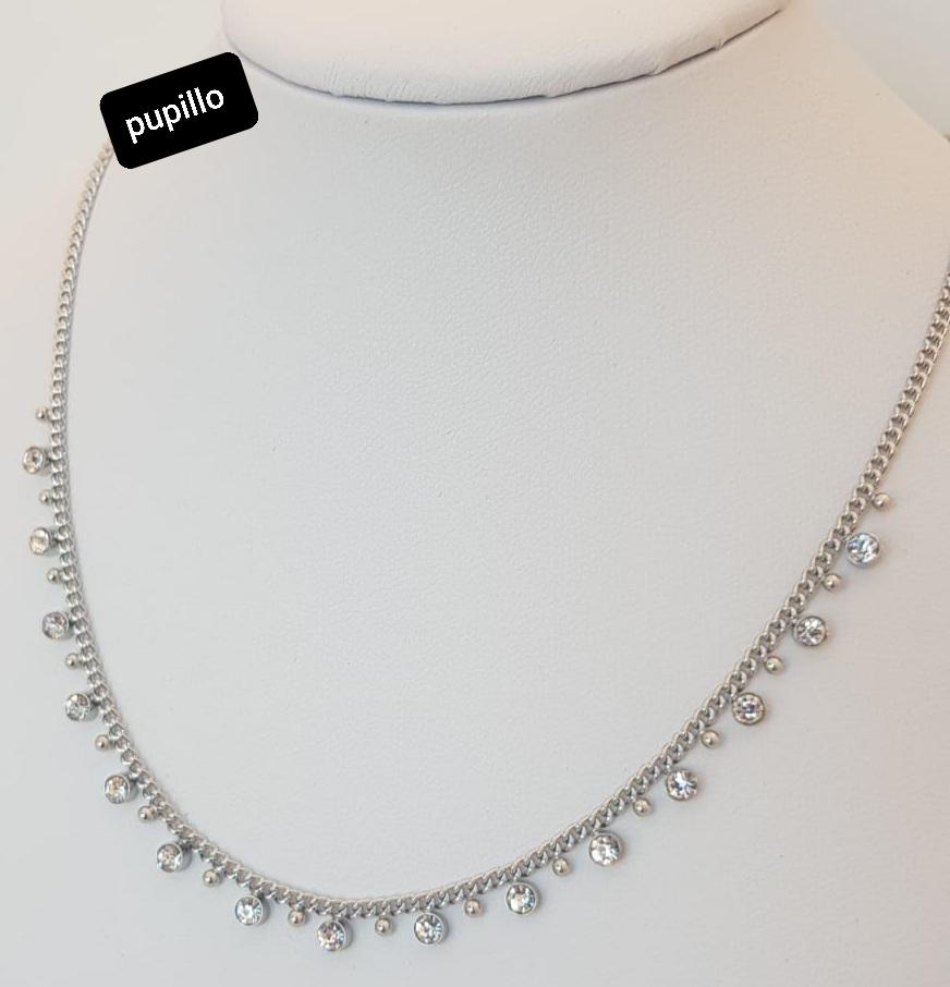 collana acciaio catena silver con pendentini zirconi