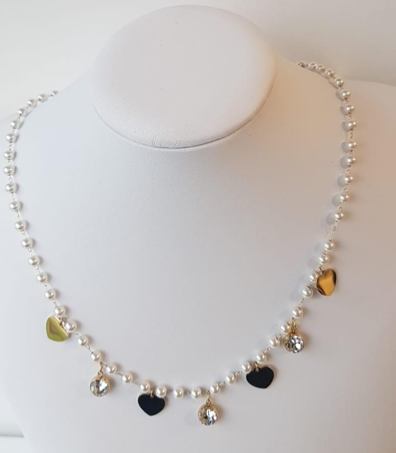 collana acciaio perle strass cuore oro