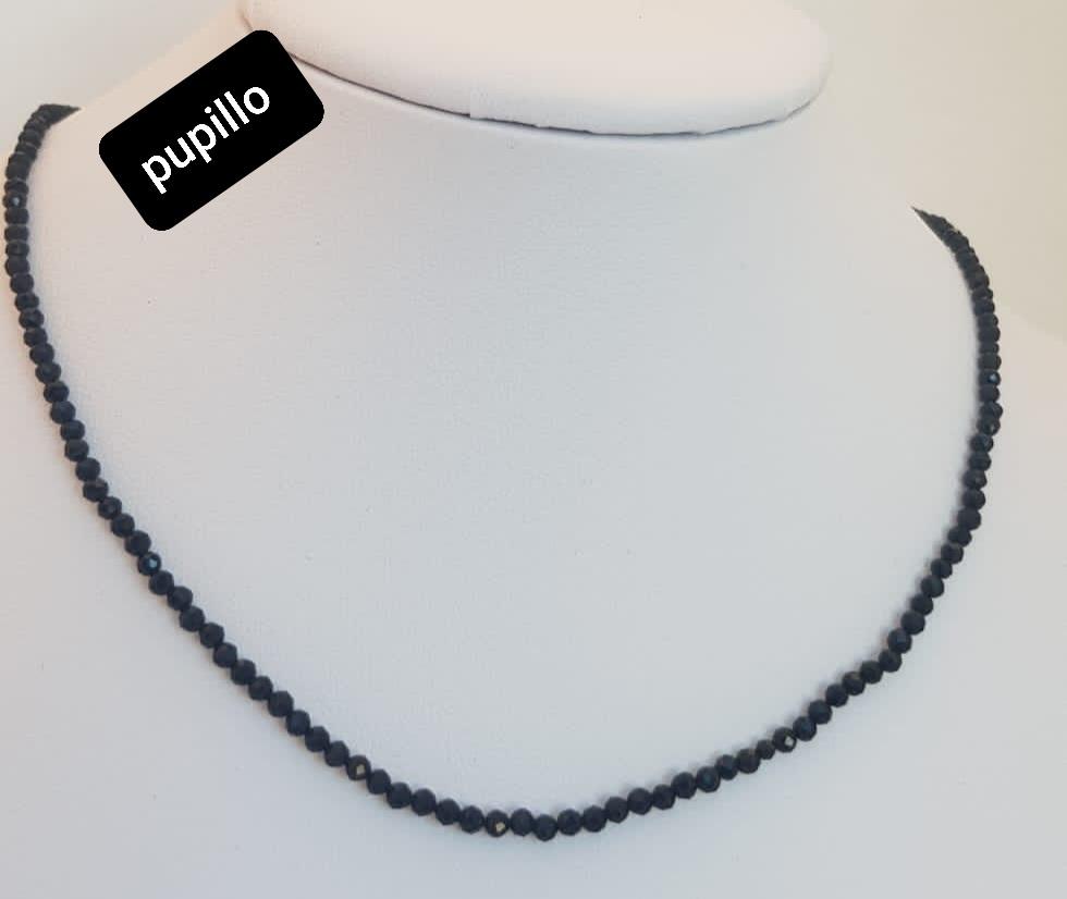 collana acciaio pietrine onice nero
