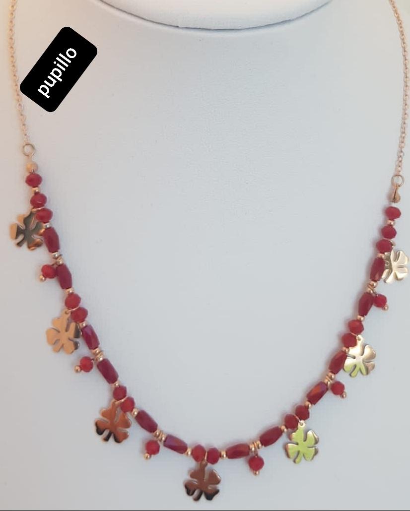 collana acciaio rosato pietrine rosse vetro con  fiore