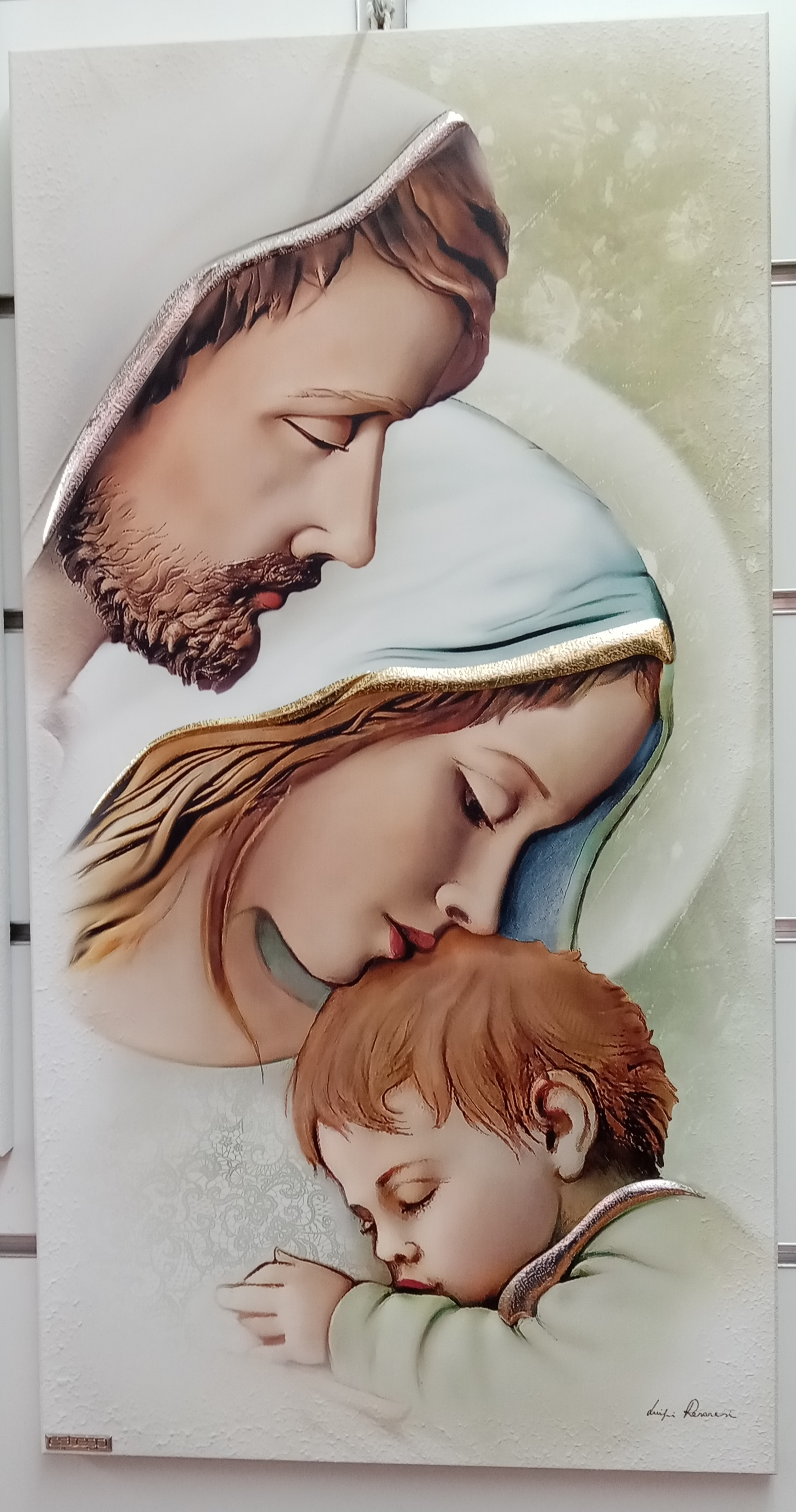 Capoletto Made in Italy Luigi Pesaresi per Estego raffigurante La sacra Famiglia cm. 34 x 65