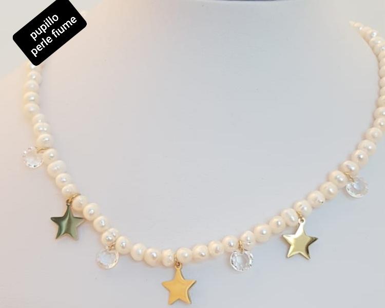 collana acciaio gold  perle fiume stelle cristallini