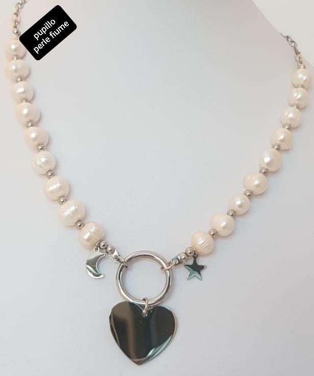 collana acciaio perle fiume pendente cuore