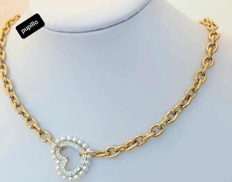 collana catena acciaio gold  cuore con perle