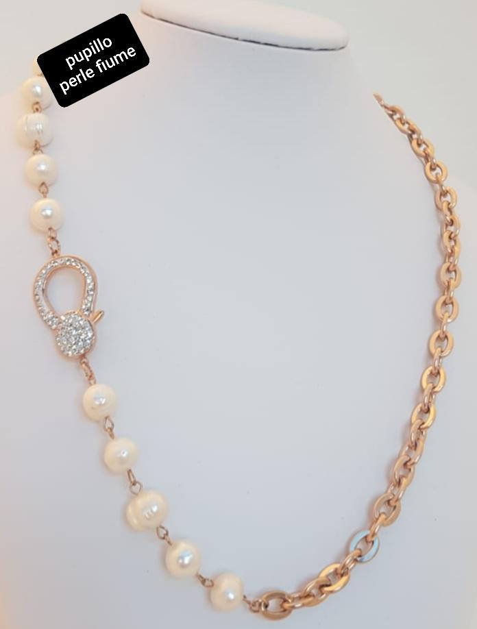 collana catena acciaio rosato perle fiume chiusura strass