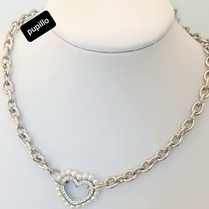 collana catena acciaio silver cuore con perle