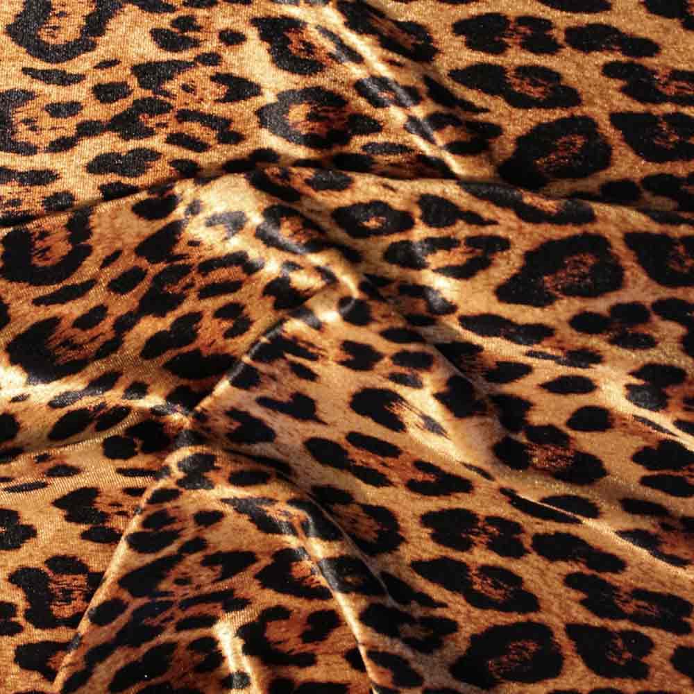 VELLUTO STRETCH FANTASIA ANIMALIER- NERO/CAMMELLO