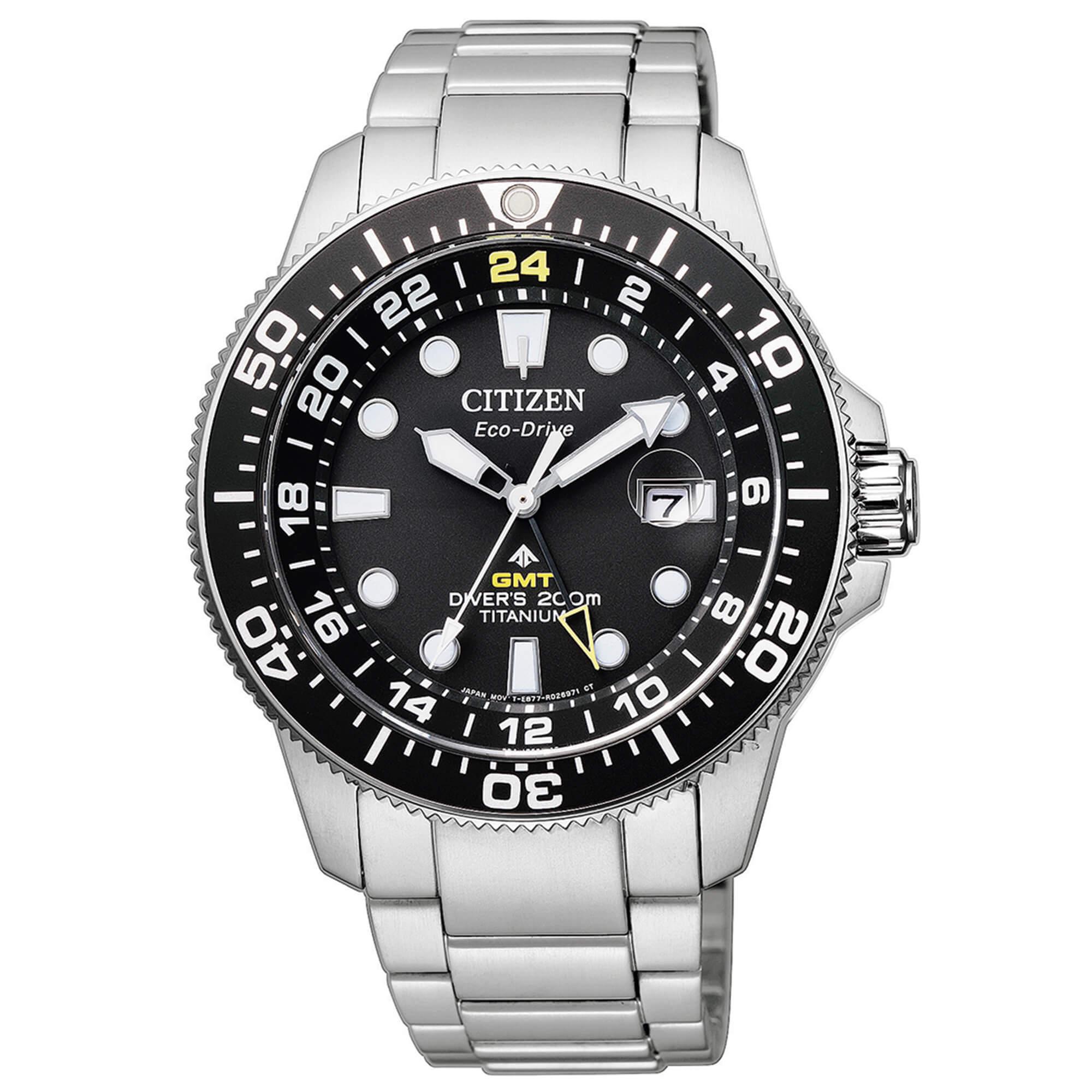 Orologio Citizen uomo Diver's Eco Drive GMT Super Titanio BJ7110-89E