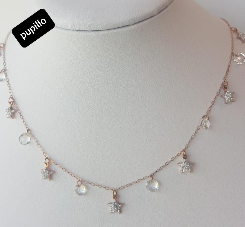 collana acciaio perle vetro bianco  stella strass