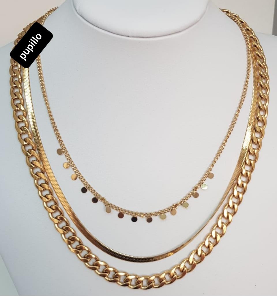 collana  acciaio gold tripla  catena