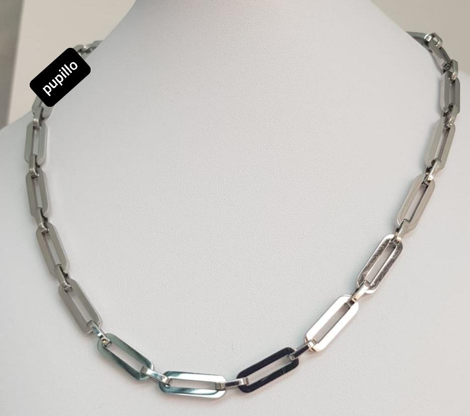 collana  acciaio silver catena