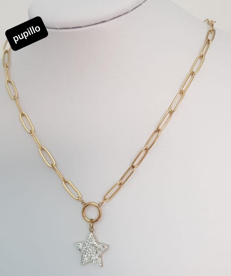 collana acciaio gold   pendente stella  strass bianco