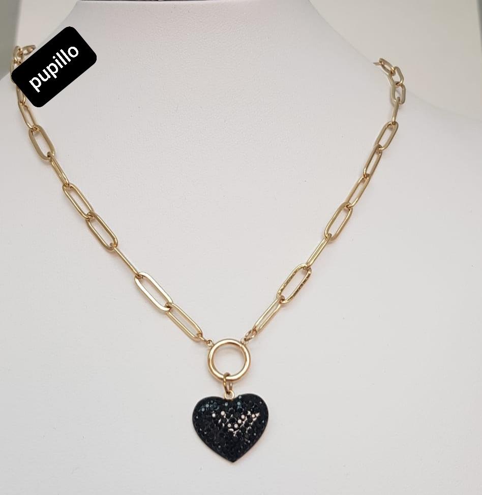 collana acciaio gold  pendente cuore  strass nero