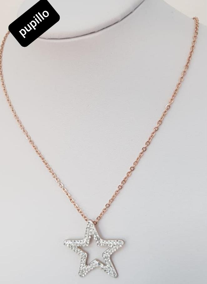 collana acciaio gold rose    pendente stella strass bianca