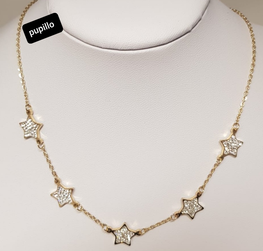 collana acciaio gold rose  5stelle strass nere