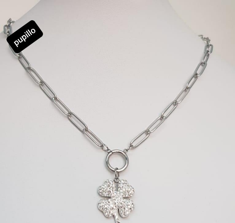 collana acciaio silver   pendente fiore strass bianco