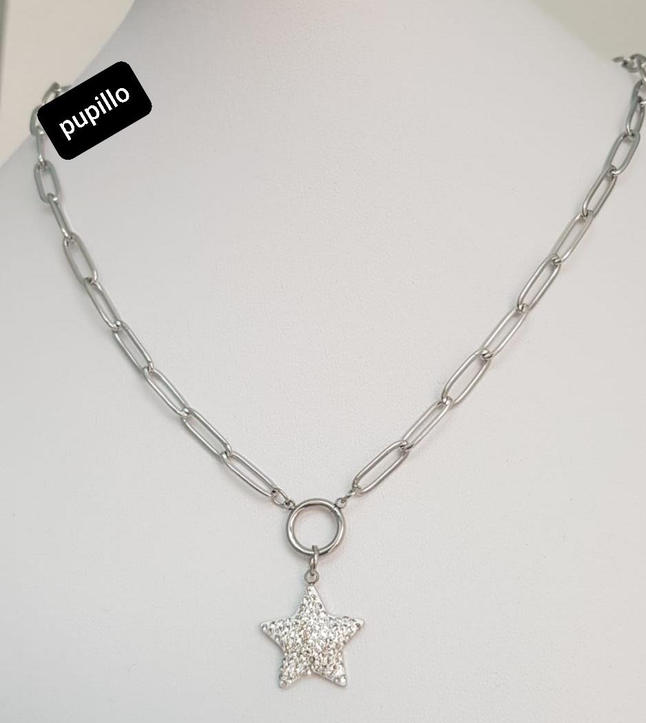 collana acciaio silver   pendente stella  strass bianco