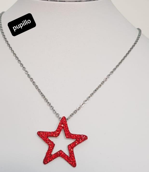 collana acciaio silver   pendente stella strass rosso