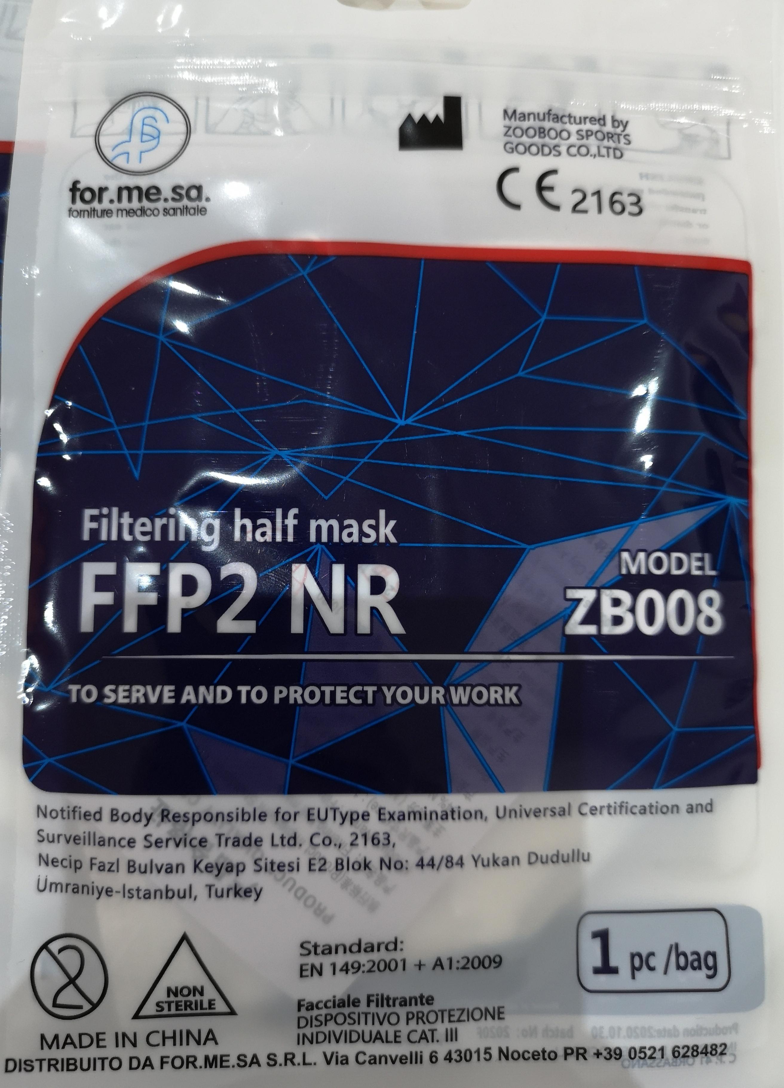 Mascherine FFP2 NR ZB008 CERTFICATE