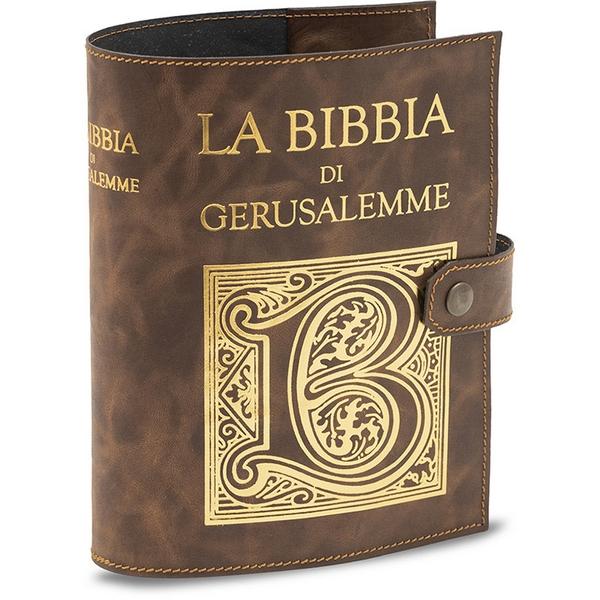 Copri Bibbia di Gerusalemme stampa oro cuoio rigenerato