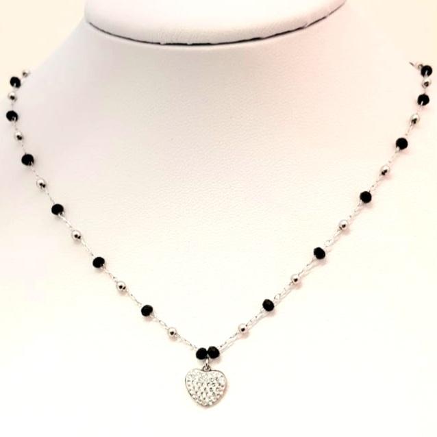 collana acciaio silver  perle vetro cuore strass