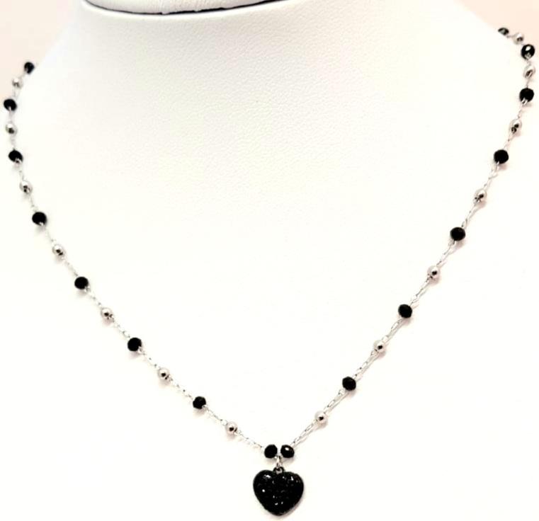 collana acciaio silver  perle vetro cuore strass nero