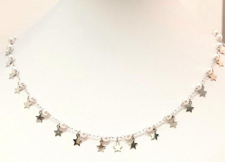 collana acciaio silver  perle vetro pendenti stelline