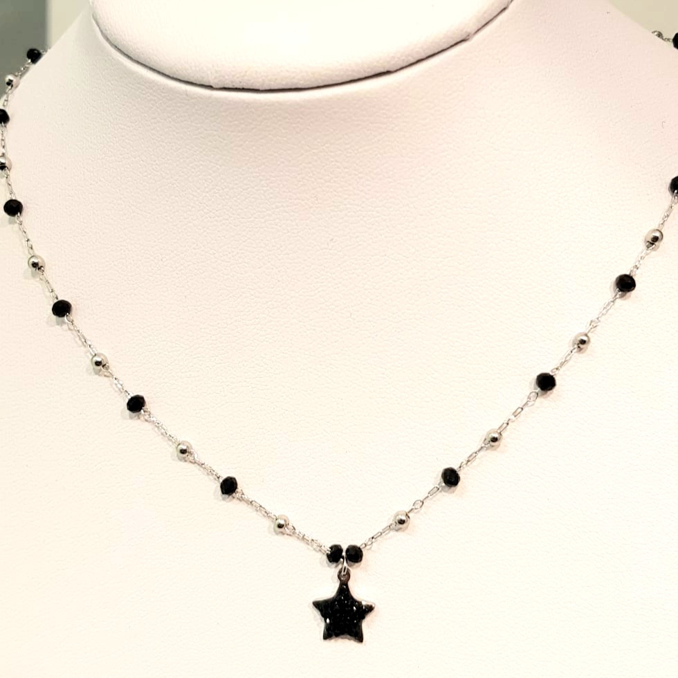 collana acciaio silver  perle vetro stelle strass nero