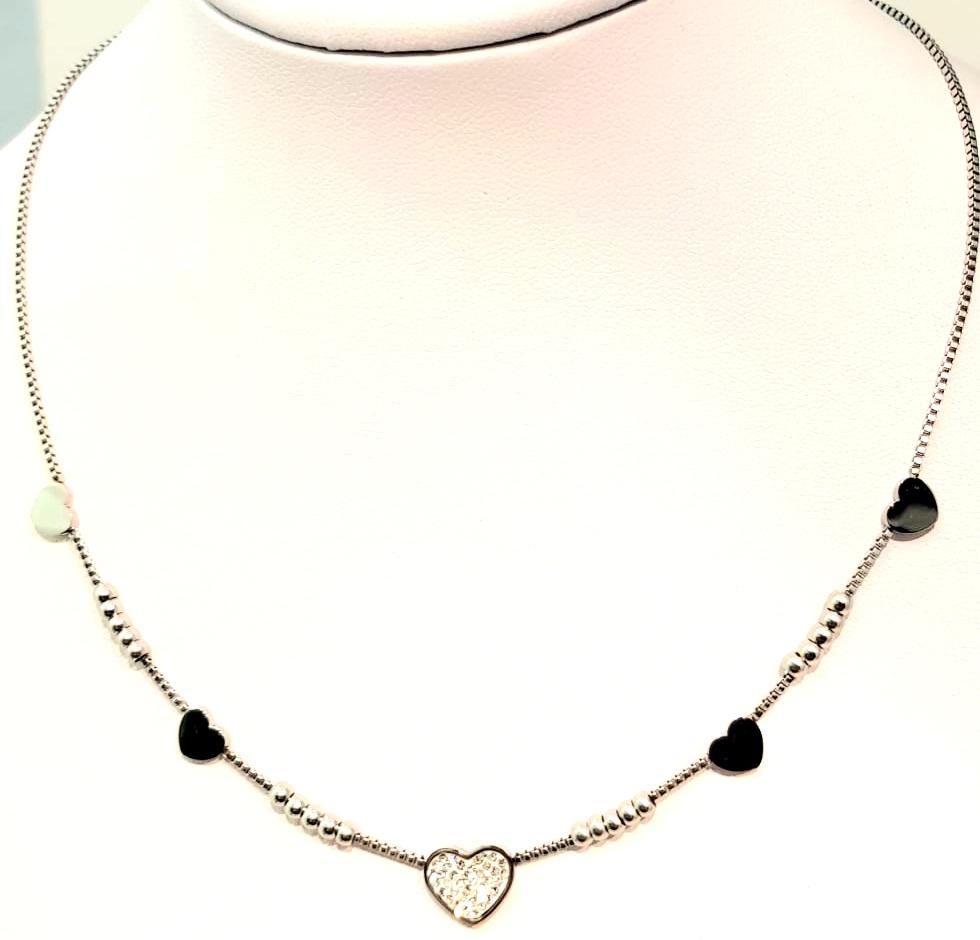 collana acciaio silver cuore strass  strass