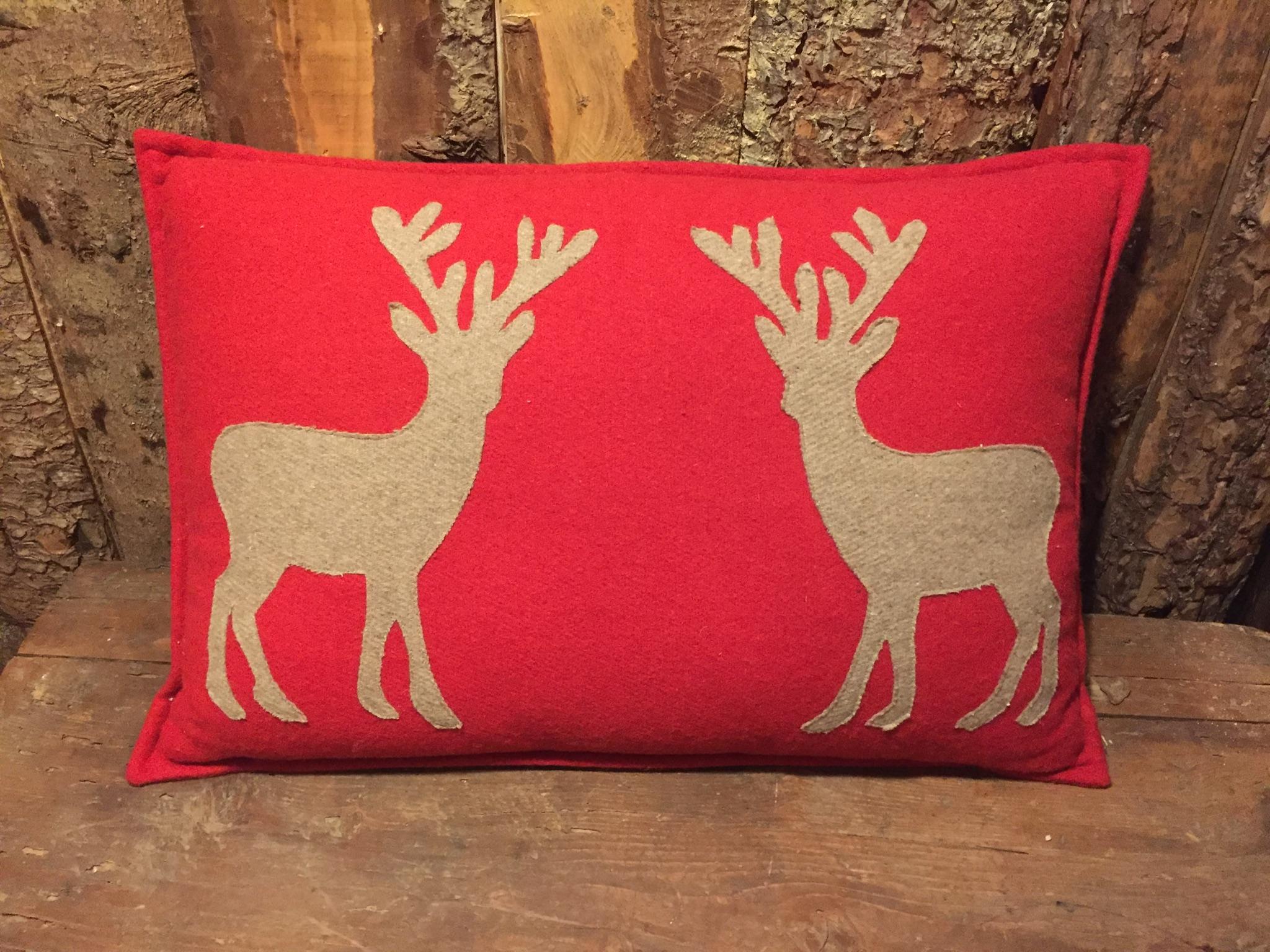 Cuscino lana con cervi