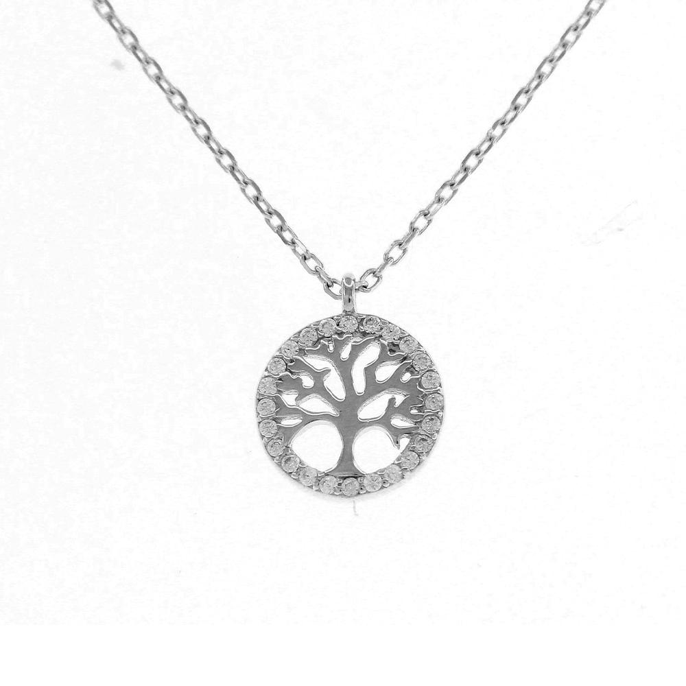 Girocollo in Argento Rodiato con simbolo Albero della Vita