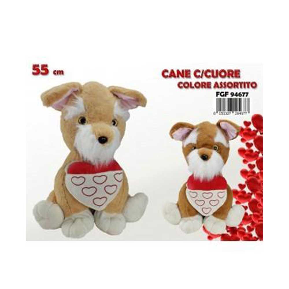 FGF Cane con Cuore Colori Assoriti Colorato Peluche per San Valentino Con Cuore Colorato