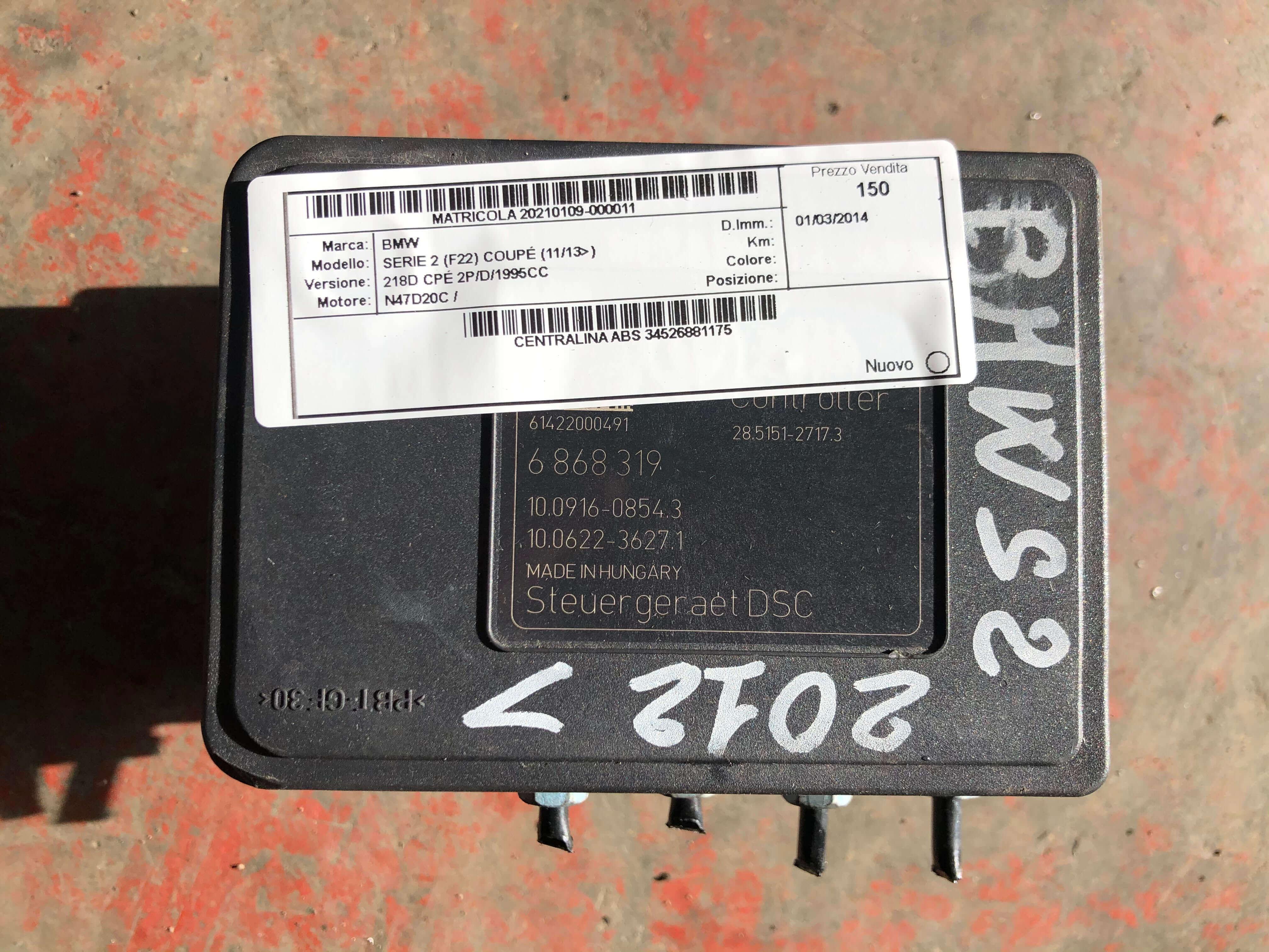 Centr. ABS usata BMW Serie 2 cod. 34516868318
