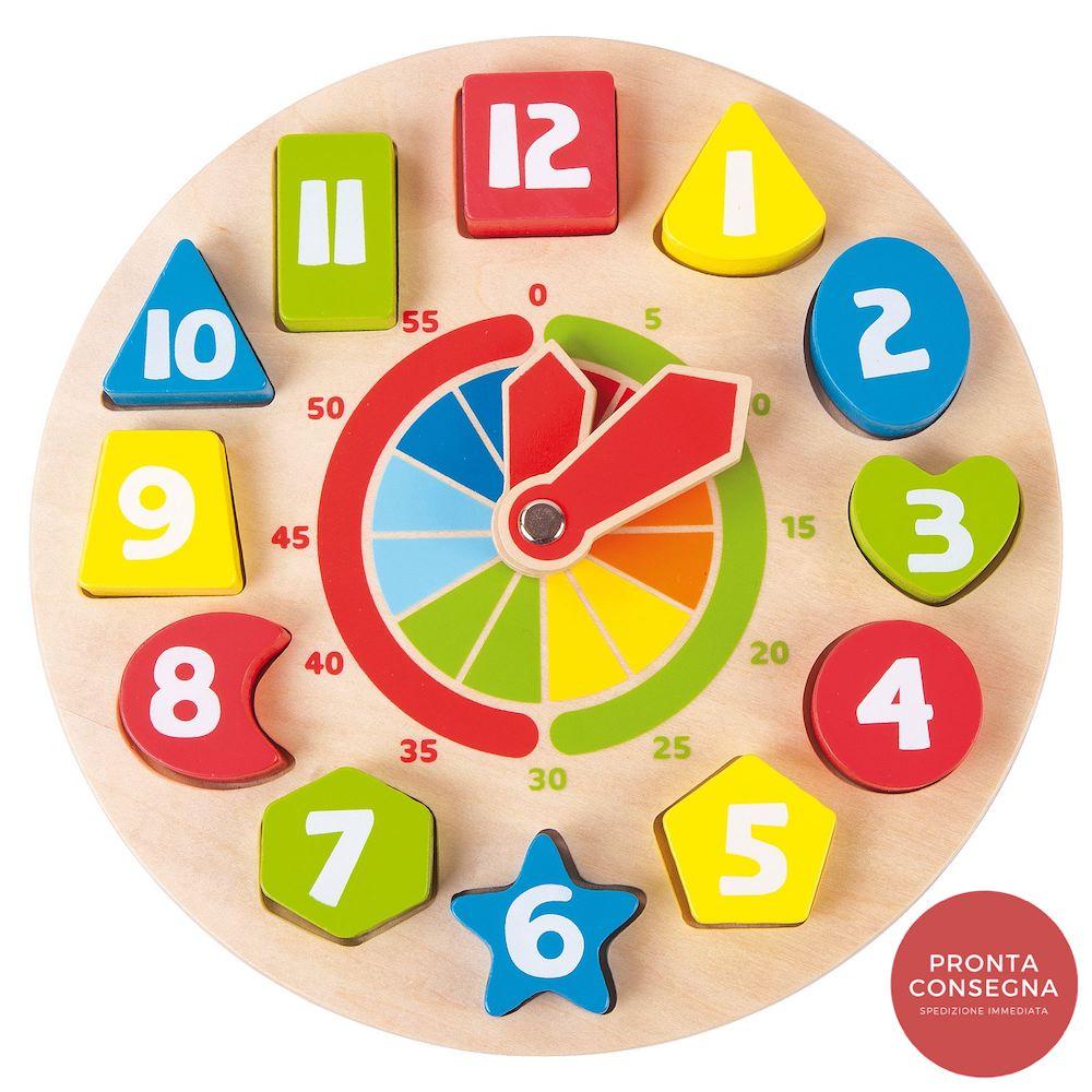 Orologio didattico in legno con Forme e numeri