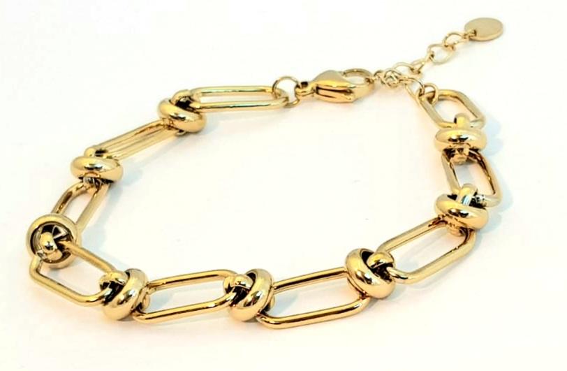bracciale acciaio gold  catena e nodi