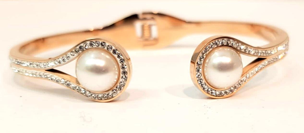 bracciale acciaio gold rose  perla strass