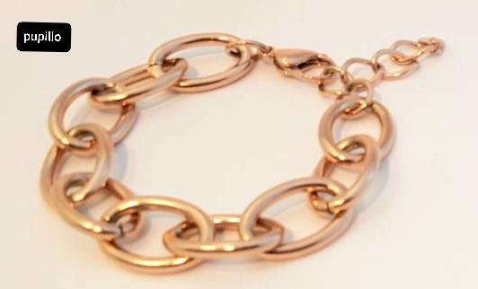 bracciale acciaio gold rose catena