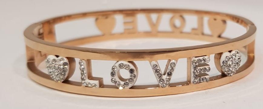 bracciale acciaio gold rose manetta  scritte love strass