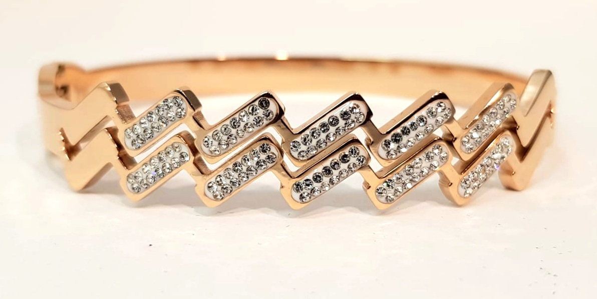 bracciale acciaio gold rose manetta zig zag strass