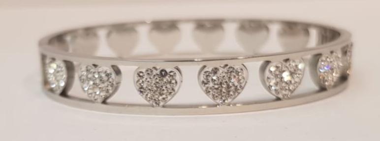 bracciale acciaio silver  manetta 7 cuori  strass