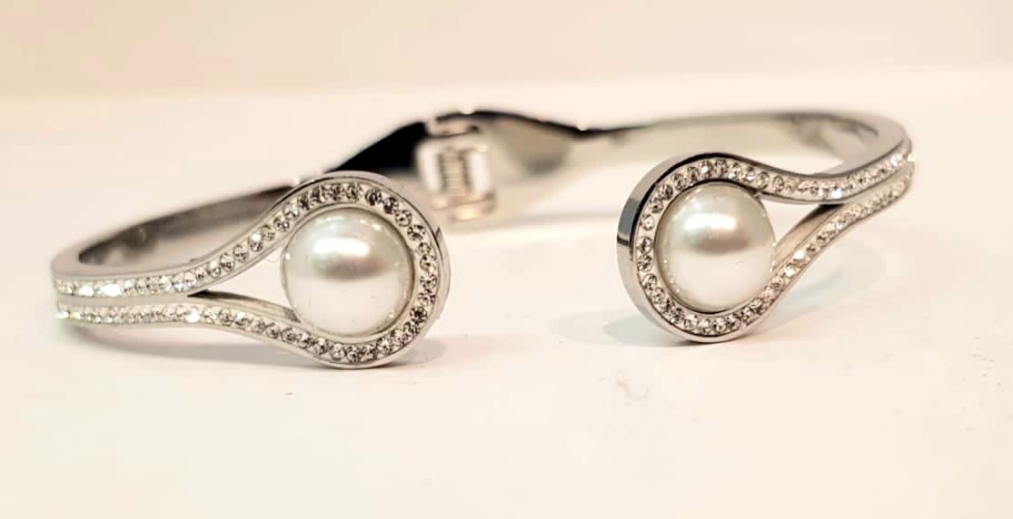 bracciale acciaio silver  perla strass