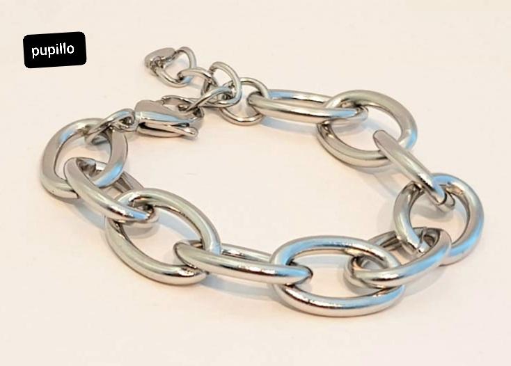 bracciale acciaio silver catena