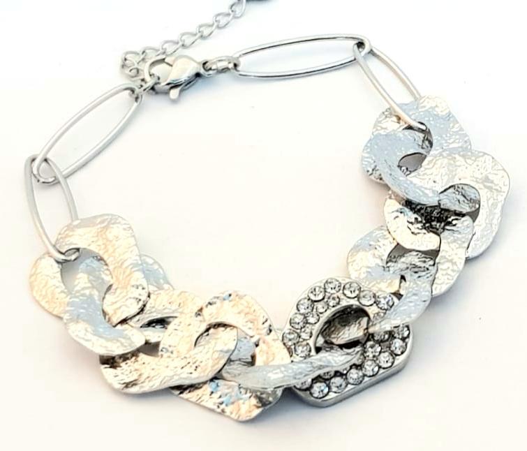 bracciale acciaio silver catena martellata e strass