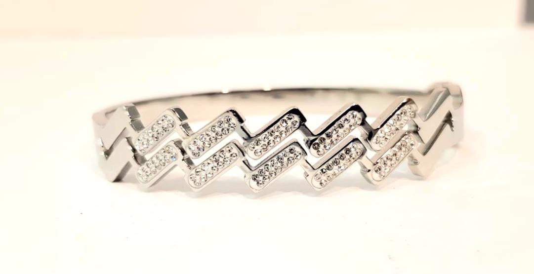 bracciale acciaio silver manetta zig zag strass