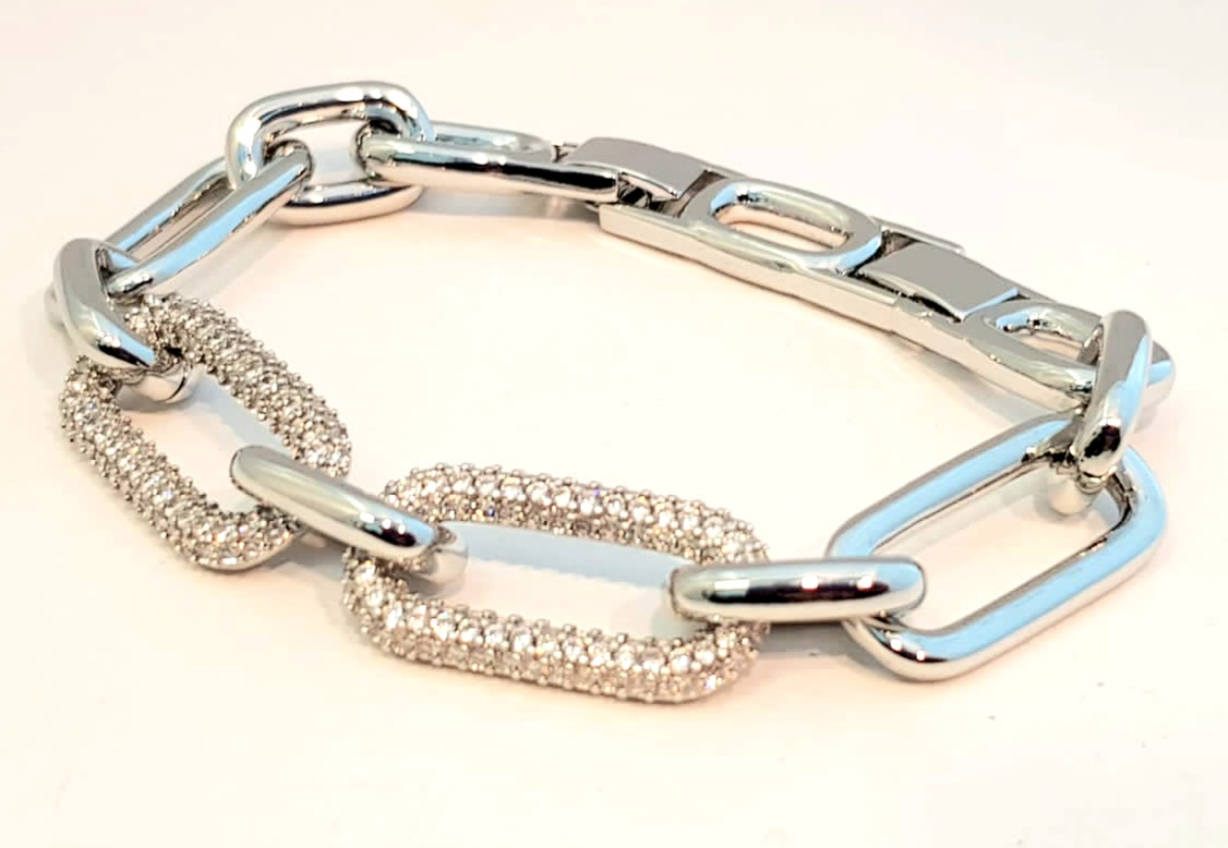 bracciale metallo silver  catena zirconi
