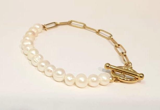 bracciale  acciaio gold con  perle fiume